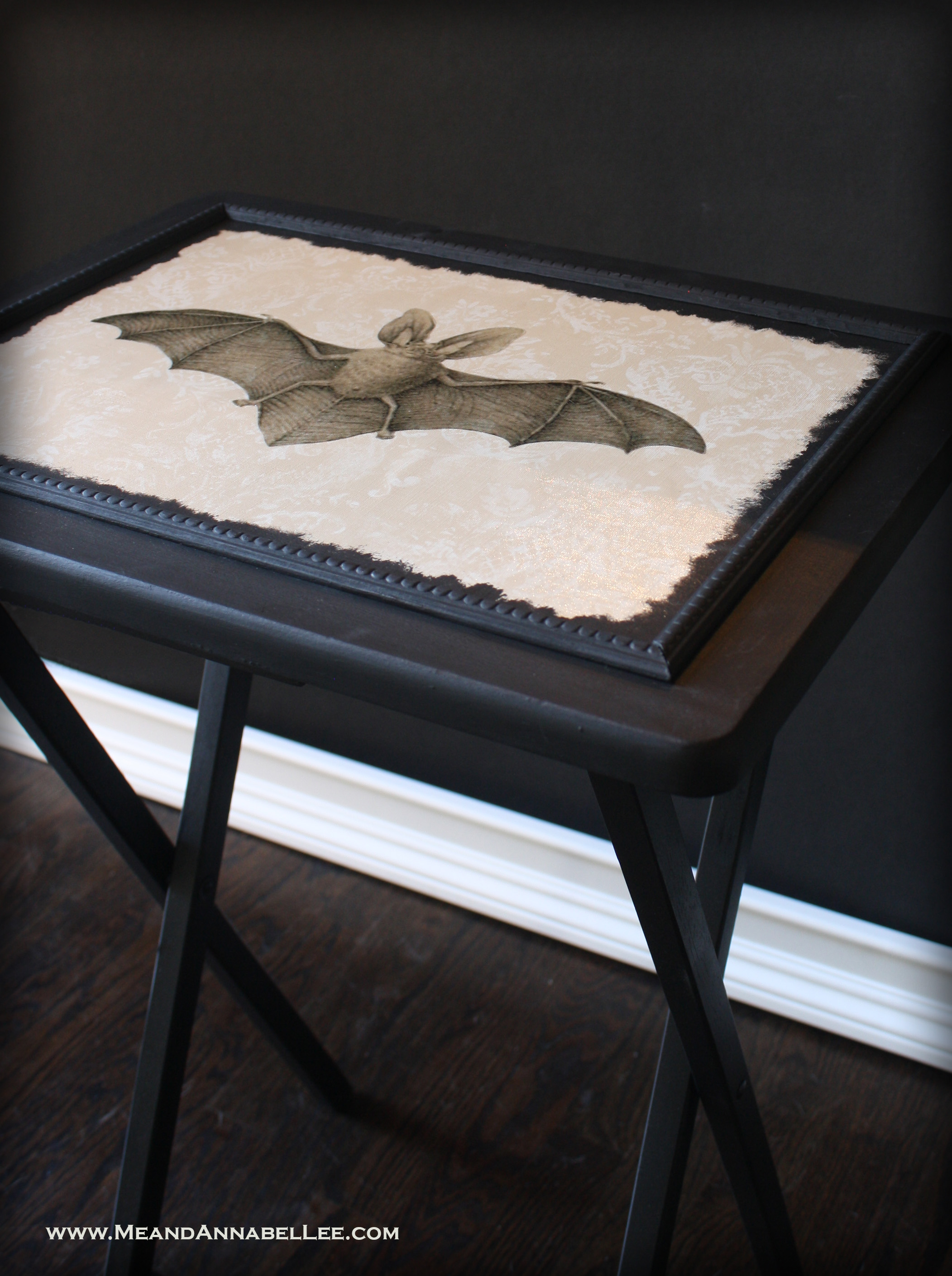 Diy Vintage Bat Tv Tray Table Victorian Gothic Image Transfer Me And Annabel Lee