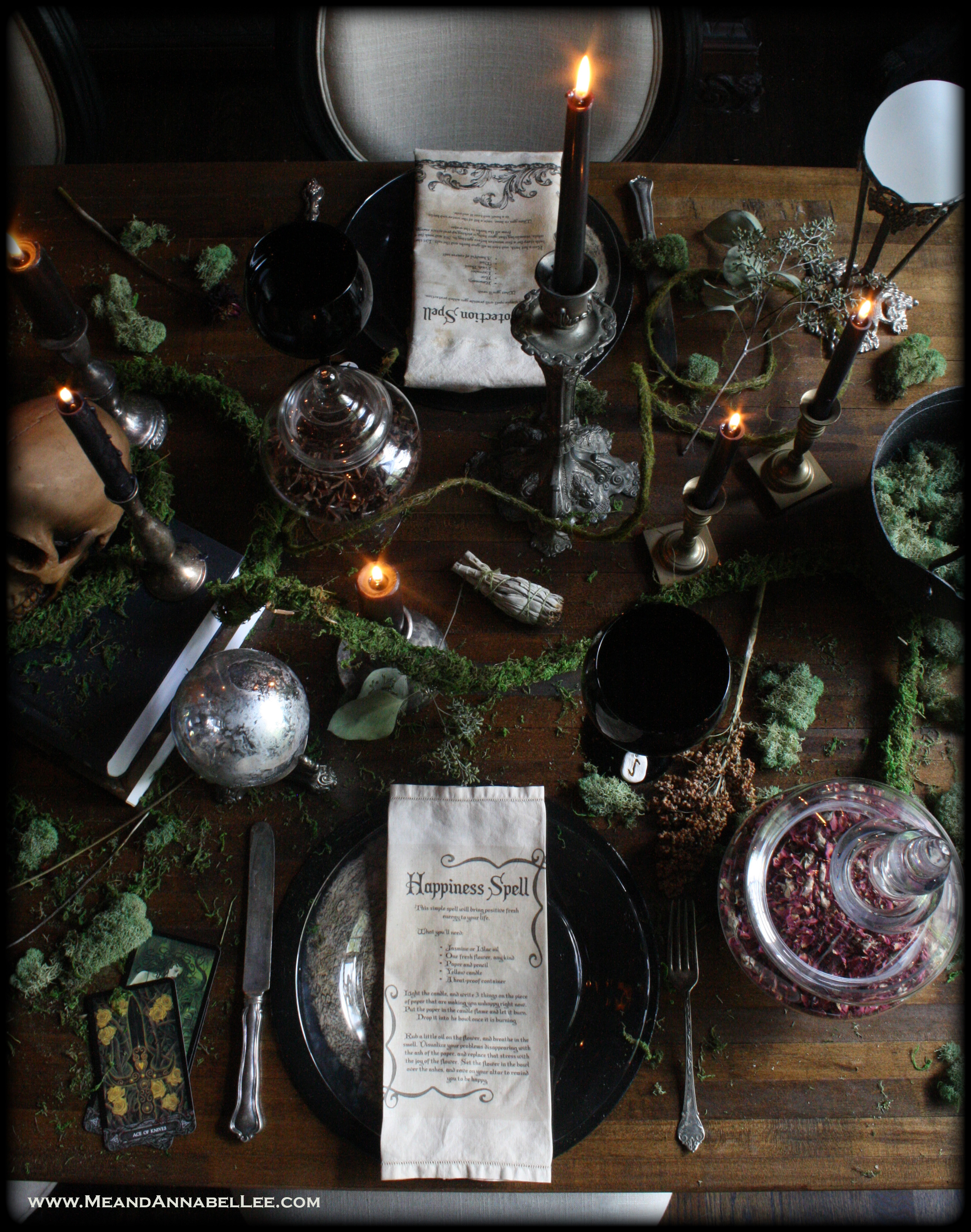 Diy Vintage Tea Stained Witches Spell Napkins Halloween Party Me And Annabel Lee